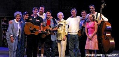 From L to R: Linda Evans (Aunt Ethyl), Jenny Littleton (Dee), Jason Edwards (Jim), Robin Farquhar (Artistic Director), Miles Aubrey (Purvis), Patricia Miller (Playwright), Jim Wann (Playwright/Composer), Mike Masters (Merle), Mary Faber (Ivy) & Ritt Hen
